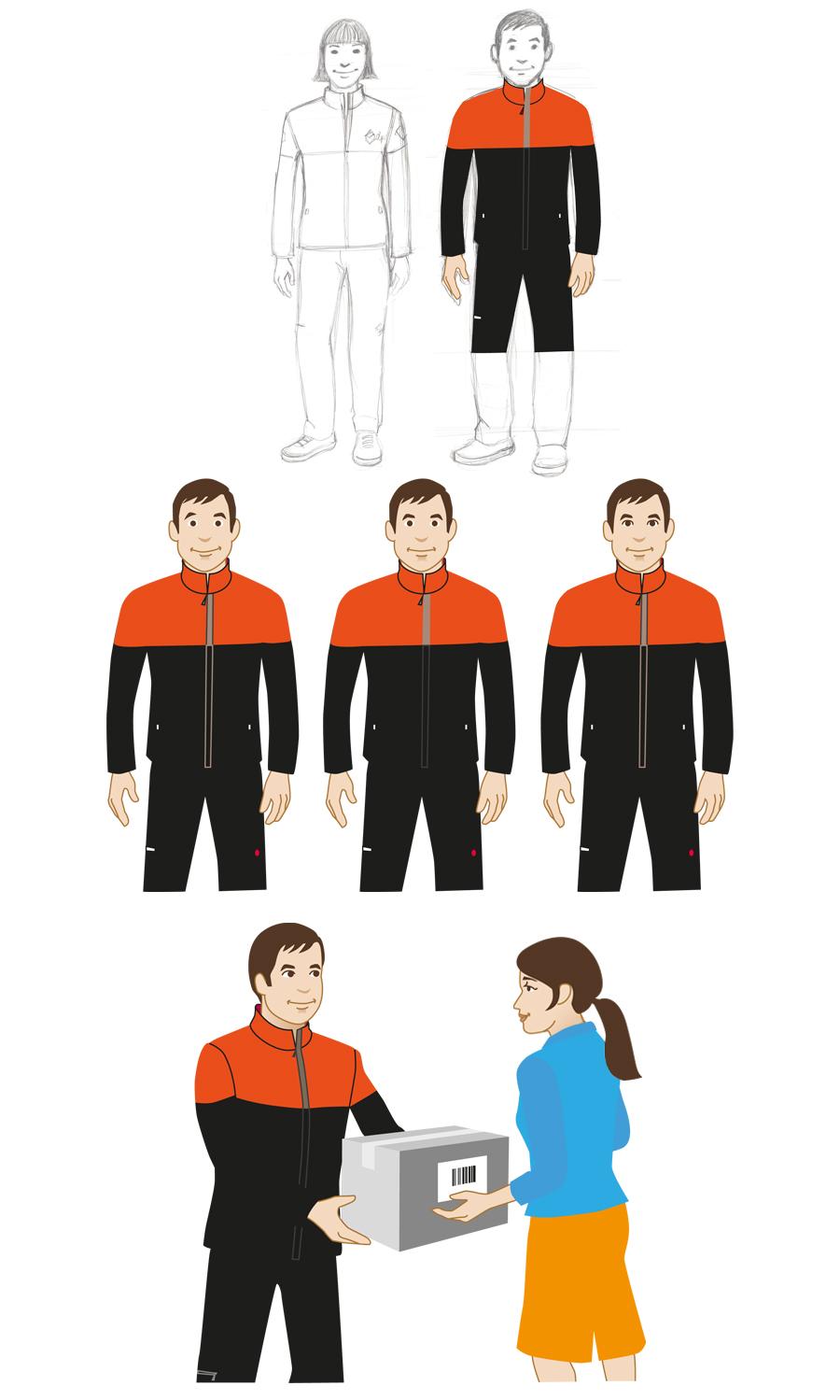 Character Character design Figur Sympathiefigur Dienstleister Illustration Sylvia Wolf