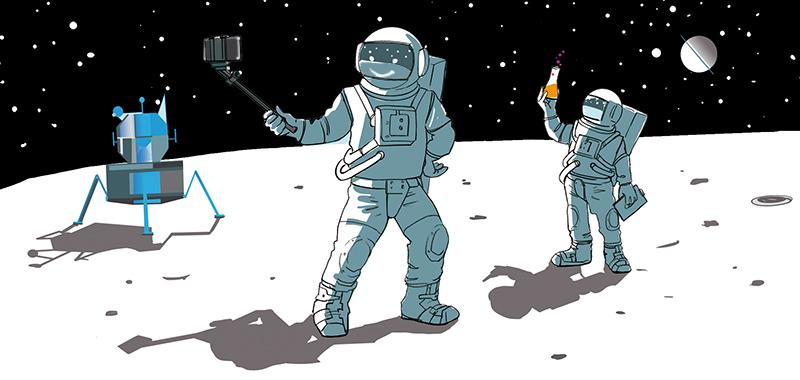 Editorial Illustration Astronaut Raumfahrt Sylvia Wolf Wiesbaden