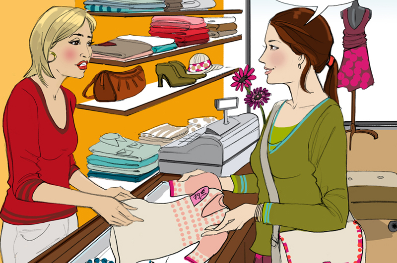 Einkauf Kaufen Boutique Illustration Sylvia Wolf