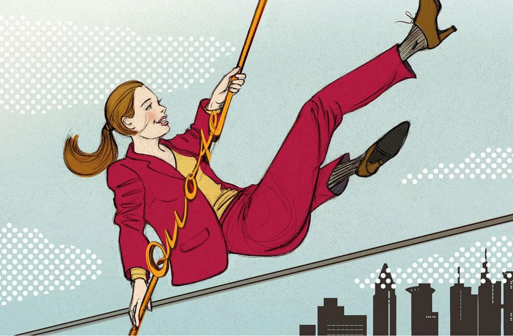 Frau Job Arbeitswelt Frauenquote Chefetage Illustration Editorial Zeitschrift Magazin Sylvia Wolf