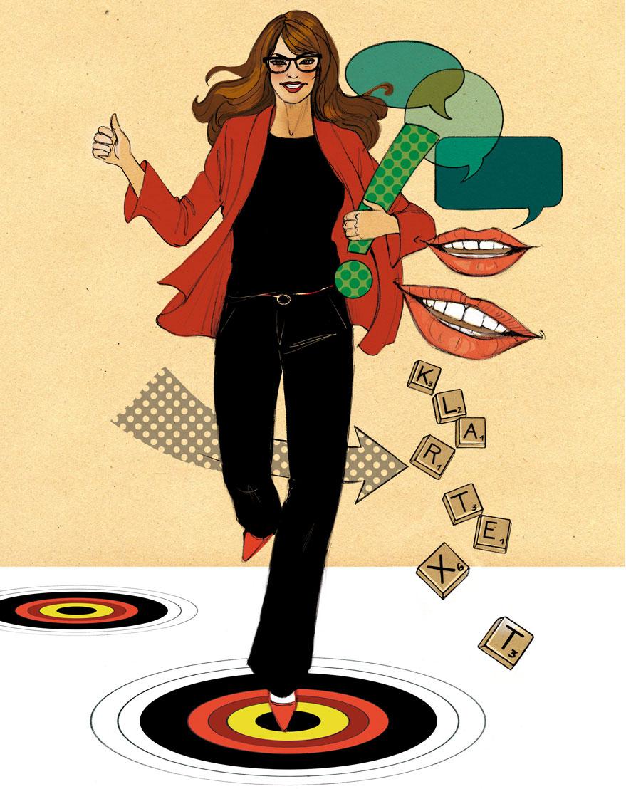 Frau Job Kommunikation Ziele Illustration Editorial