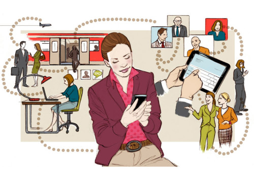 Frau Job Netzwerken Socialmedia Netzwerkerin Illustration Zeitschrift Magazin Sylvia Wolf