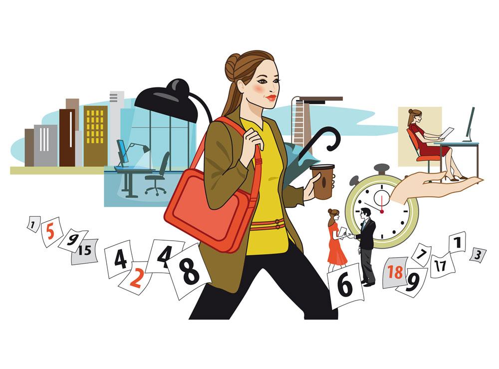 Frau Job Zeitarbeit Illustration Editorial Zeitschrift Magazin Sylvia Wolf