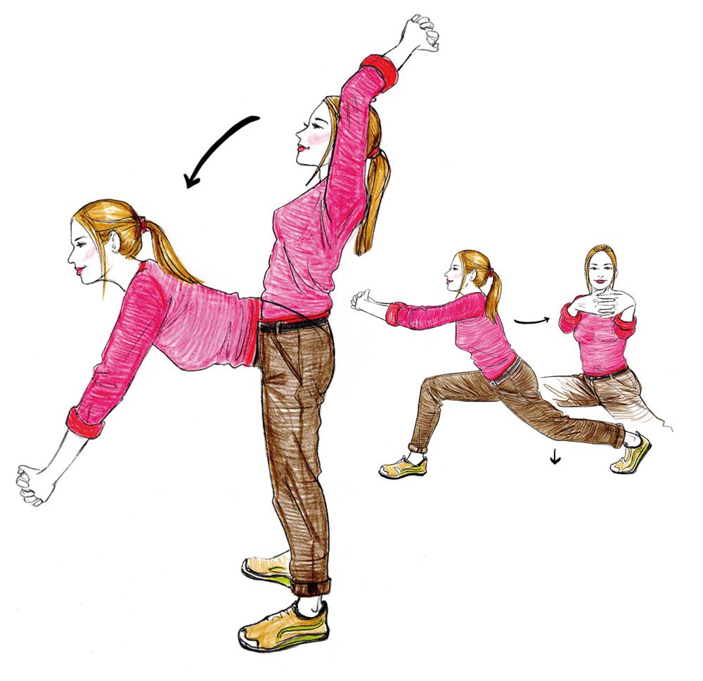 Gymnastik Uebungen Vital Fitness Illustration Zeichnung drawoing Sylvia Wolf