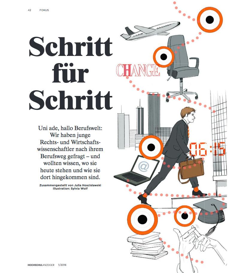 Hochschulanzeiger Editorial Illustration Erste Schritte Illustration im Heft Sylvia Wolf