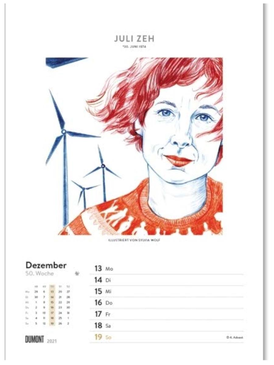 Juli Zeh im Wochenkalender 2021 Sylvia Wolf Illustrationen Kopie