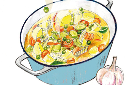 Kochkurs Kochanleitung Suppe Health Care Sylvia Wolf Illustration