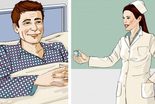 Krankenhaus Krankenschwester Patient Medizin Illustration Sylvia Wolf
