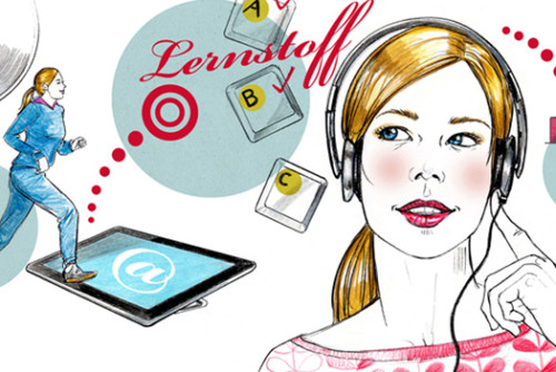 Lernen E-Learning Illustration Sylvia Wolf