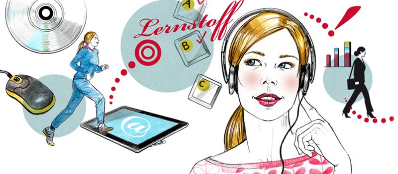 Lernen E-Learning Illustration Sylvia Wolf