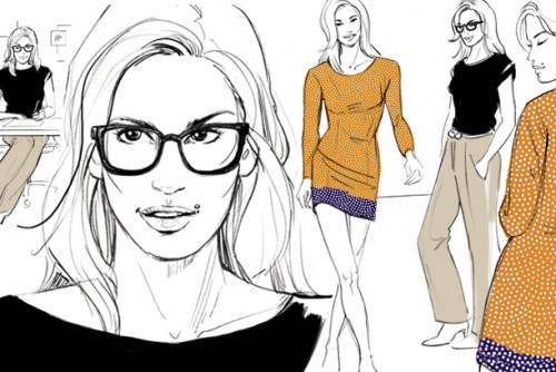 Mode Skizze fashion scetch Illustration Sylvia Wolf