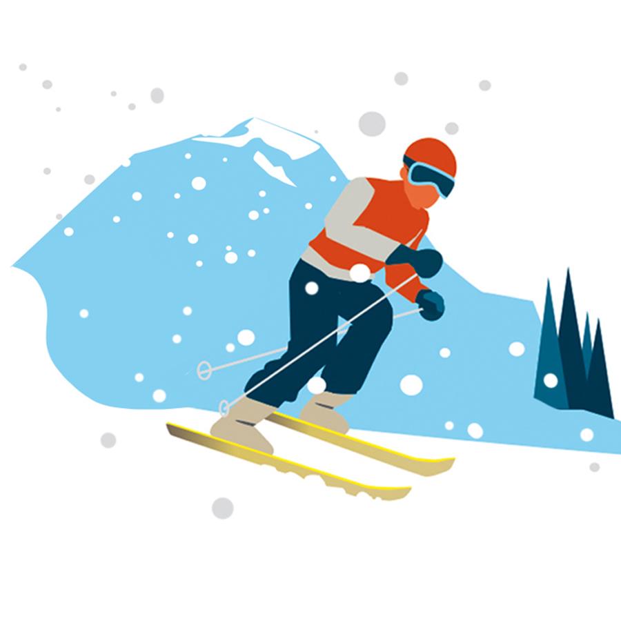 Sylvia Wolf für Bergwelten Wintersport Editorial Illustration