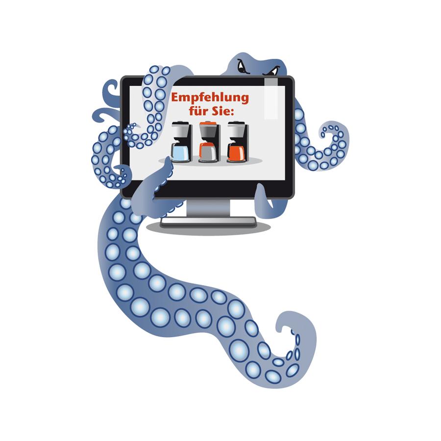 Krake Bildschirm Online-Werbung Sylvia Wolf Illustrationen