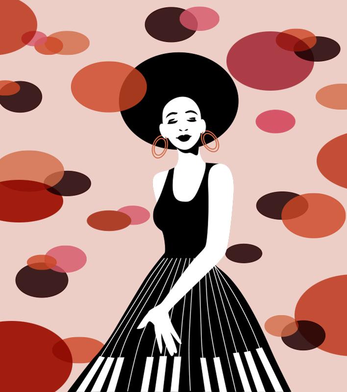 Pianistin Sylvia Wolf Illustrationen