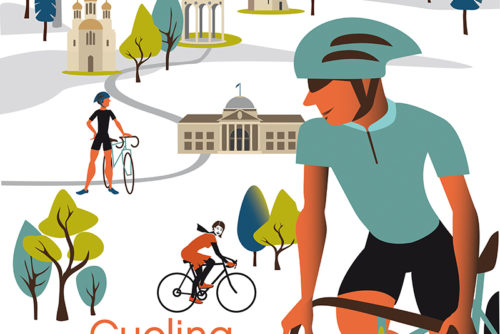 Plakat Cycling Wiesbaden Illustration Sylvia Wolf