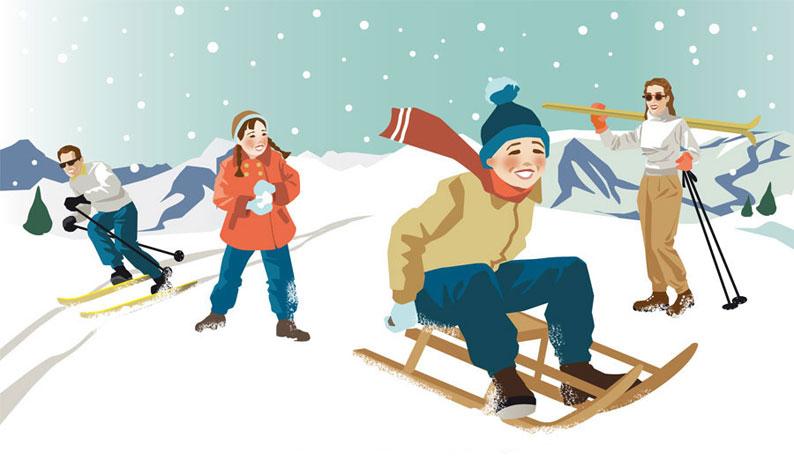 Retro Retrofigur Style Ski Skifahren Rodeln Illustration Sylvia Wolf
