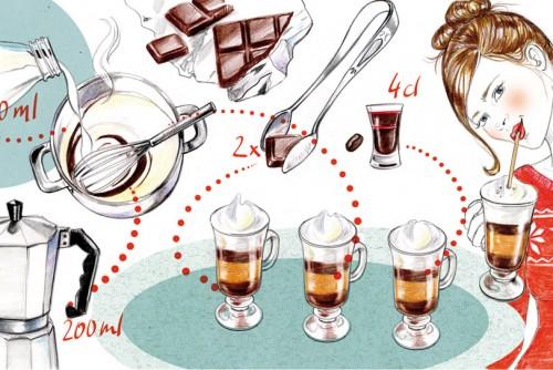 Rezept Kochanleitung Schokolade Editorial Magazin Zeitschrift Illustration Sylvia Wolf