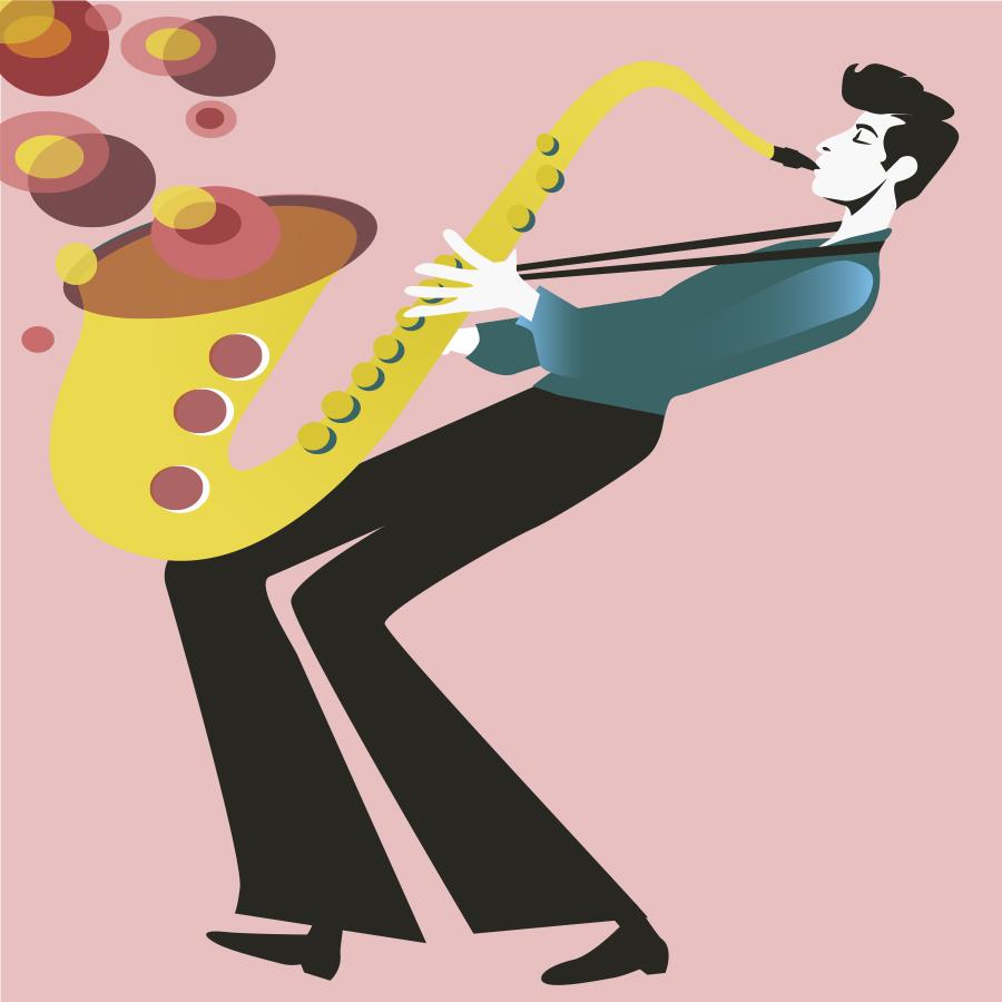Saxophonist-Sylvia-Wolf-Illustrationen