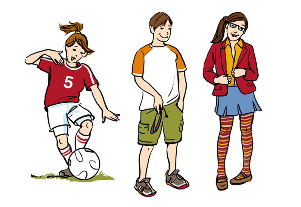 Schulbuch shoolbook Schueler Schuelertypen Illustration Sylvia Wolf