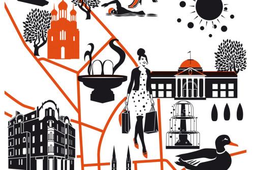 Siebdruck Plakat Wiesbaden Illustration Sylvia Wolf