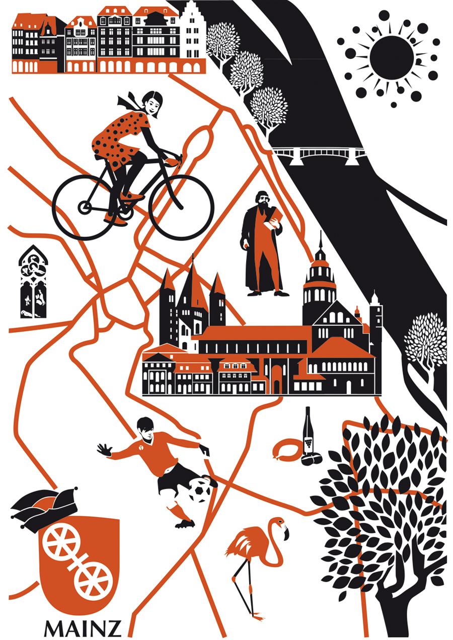 Stadtplan Mainz Sylvia Wolf Illustration