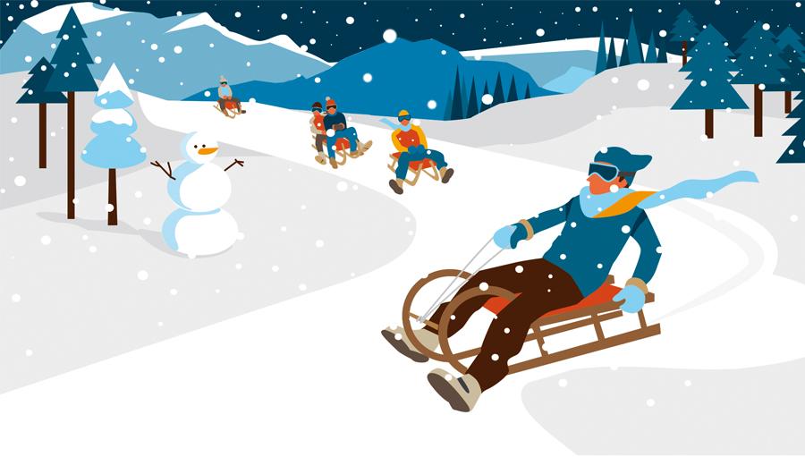Sylvia Wolf für Bergwelten Wintersport Editorial Illustration 2