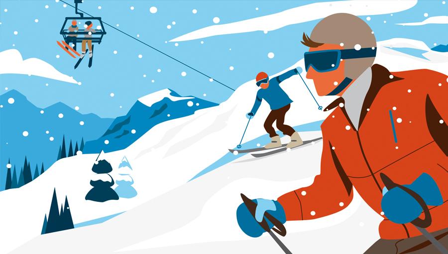 Sylvia Wolf für Bergwelten Wintersport Skifahren Editorial Illustration