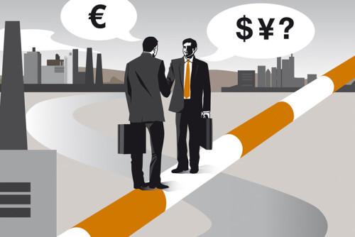 Sylvia Wolf Vektor Illustration Editorial Magazin Business Bankmagazin Finanzierung Ausland