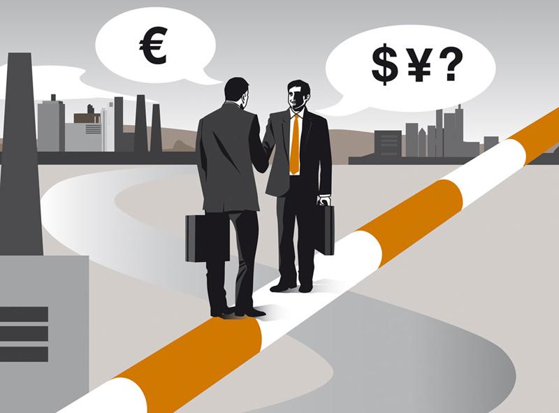 Sylvia Wolf Vektor Illustration Editorial Magazin Business Bankmagazin Finanzierung Ausland