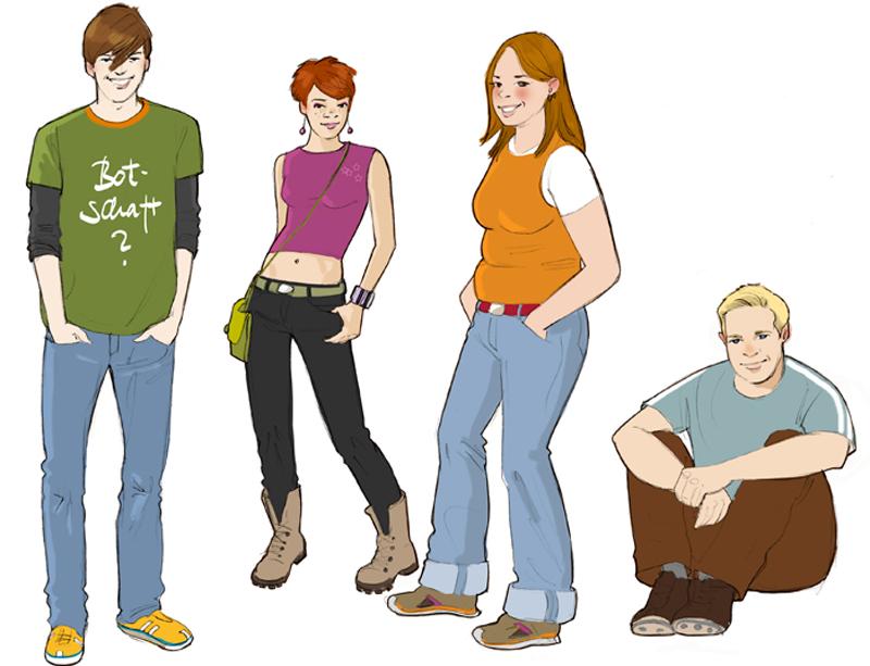 Teenie Jugendliche Typologie Typen Zeichnung drawing Illustration Sylvia Wolf