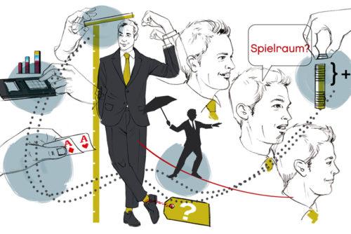 collage verhandlung gehalt illustration sylvia wolf
