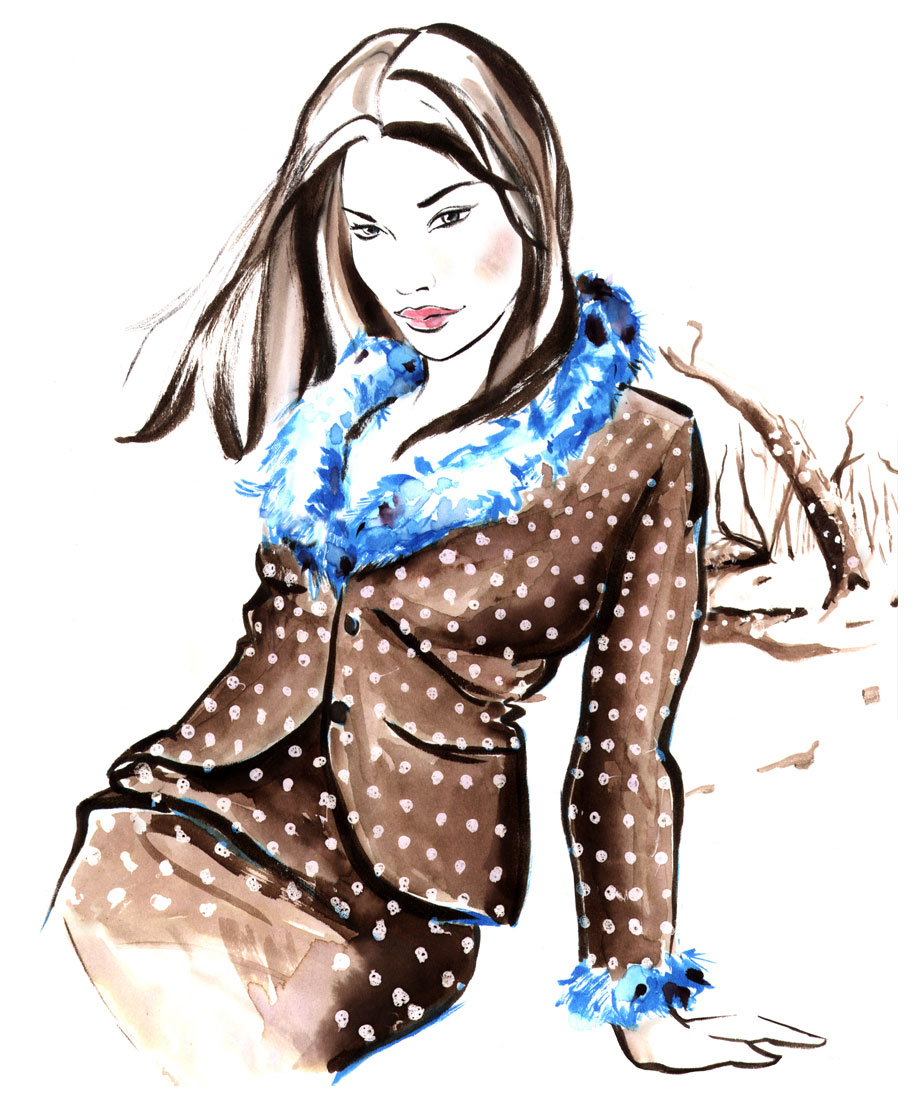 wasserfarbe watercolor fashion fashiongirl zeichnung drawing illustrator Illustration Lifestyle Magazin Sylvia Wolf