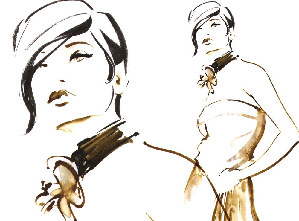 watercolor fashion Mode fashiongirl sketch zeichnung drawing Illustration Sylvia Wolf